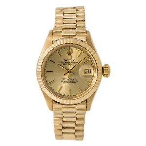Rolex Datejust 6917 Tiffany Dial President Women Automatic Watch 18K Gold 26mm