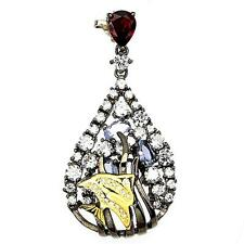 Pendant Tanzanite and Garnet . Silver 925 rhodium black + 925 silver chain