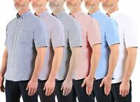 Mens Shirt Farah Drayton Short Sleeve Collared Oxford Cotton Casual Top