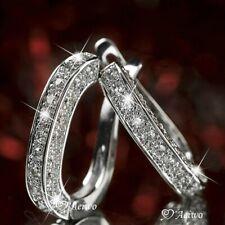 Plata brillante 925 U-Shape Huggie Aro Pendientes de Diamantes Joyería de compromiso de mujer