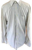 Lacoste Mens Size 42 L Beige Light Blue Striped Button Front Long Sleeved Shirt