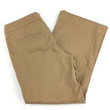 Express Editor Pants Women's Brown Crop Khaki Cotton Stretch Career Size 2