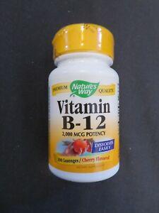 Nature's Way Premium Quality Vitamin B-12 2000 MCG Potency 100 Lozenges Cherry #
