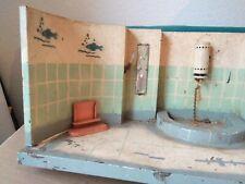 Blechspielzeug, altes Badezimmer aus Blech, Puppenhaus