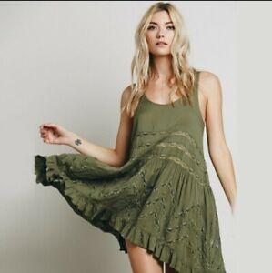 Intimately Free People Green Voile & Lace  Trapeze Mini Slip Dress Size XS