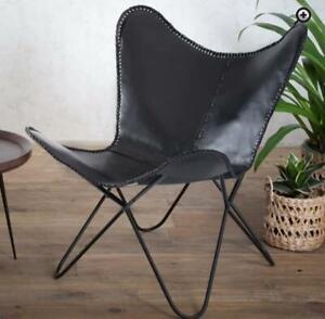 Handmade Black Buffalo Leather Butterfly Chair Lounge Relax Arm Chair Home Décor