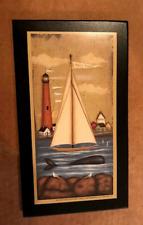 LIGHTHOUSE Mystic sailboat whale seagulls saltbox house nautical Decor Sign