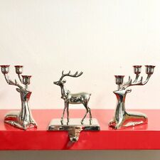 2 Silver Dear Taper Candle Holders And 1 Stocking Holder