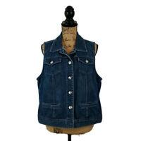 Platinum Chicos Womens sz 2 Vest Blue Denim Button Up Collared Pockets
