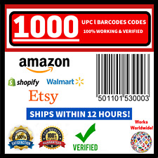 (1000) UPC EAN Codes Original NEW Barcode Numbers FOR Amazon LIFETIME WORKING