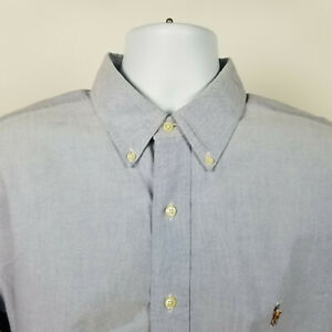 Ralph Lauren Yarmouth Blue Cotton Oxford Mens Dress Button Shirt Size 17 - 35