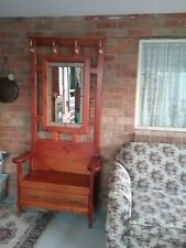 Vintage Solid Pine Timber Hall Stand with drawer