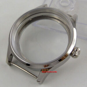 Polished 43mm sterile steel Watch CASE sapphire glass fit 6498 6497 movement 144