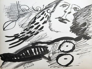 ABSTRACT PORTRAIT SURREALIST INK DRAWING SIGNED