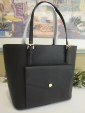 MICHAEL KORS JET SET LARGE SNAP POCKET TOTE SHOULDER BAG LAPTOP BLACK LEATHER