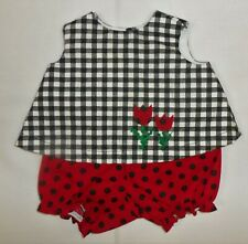 Black Check A-Line Top + Red Polka Dot Panty to fit Deluxe Reading Baby Boo Doll