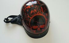 Dot Motorcycle Helment Skulls Black/Red Size Adult Small