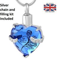 Always in my Heart Jewellery Cremation Urn Pendant Ashes Necklace Memorial