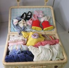 Bitty Baby Wicker Suitcase Clothes Accessories Lot American Girl Pleasant Co Set