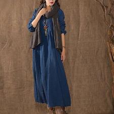 Womens Vintage Linen Plus Tops Long Maxi Dress Loose Pullover Kaftan Baggy Tunic Blue 20