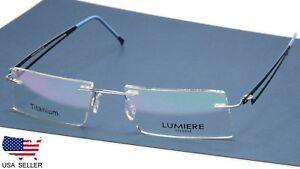 NEW LUMIERE EYEWEAR ITALY 6042 COL.3 SILVER EYEGLASSES RIMLESS 49-17-135 B25mm