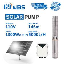 4inch 1300W 110V Solar Submersible Bore Water Pump 5T/H 146m Irrigation Farming
