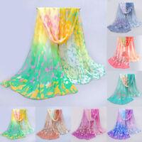 Women Casual Printed Silk Scarf  Soft Chiffon Shawl Stylish Wraps Scarf Scarves