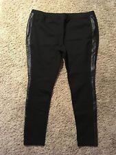 H by Halston BLACK Ponte Pull-On Leggings Leather Tuxedo Stripe size XL NICE V7