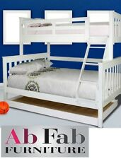 FORT SINGLE DOUBLE WHITE TIMBER TRIO BUNK BED AND STANDARD TRUNDLE