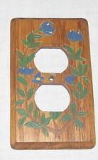 Switch Plate Single Wood Blue Myrtle Flowers