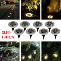 10PCS 8 LED Solar Power Buried Light Under Ground Lamp Outdoor Walkway Garden