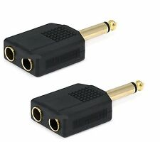 "2x Mono 6.35mm 1/4"" Splitter 1 Male Plug to 2 Female Jack Audio Y Adapter"