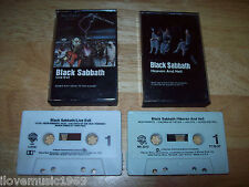 """TWO Black Sabbath Casette Tapes; """"LIVE Evil"""" / Heaven and Hell EXCELLENT conditi"""