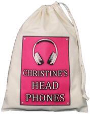 PERSONALISED - Head Phones Drawstring Storage Bag - DJ / Music - PINK -earphones