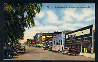 WASHINGTON STREET~ ATHENS~ GA~ POSTCARD~LINEN~STORE FRONT~CARS~PEOPLE