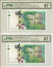 France 500 Francs 1994 P160a UNC (consecutive pair PMG grading 67EPQ)