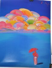 PETER MAX POSTER -UMBRELLA MAN UNDER RAINBOW CLOUDS COOL AND COLORFUL-CT#25