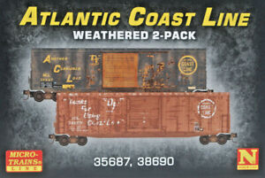 ACL. N Scale 2 Pack 50' Box Cars, no R/walk - Weathered. Micro Trains Line. New.