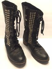 Size 7 Trobador Steve Madden Studded Mid Combat Boots Black Leather Side Zip