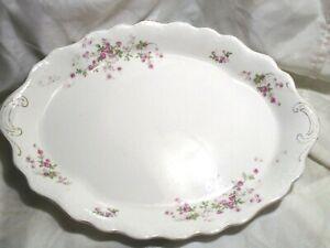 "Antique Buffalo Pottery Oval Serving Platter Floral 15"""