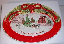 "Fitz And Floyd Home Warms The Heart Cookie Platter 13"" Original Box Never Used"
