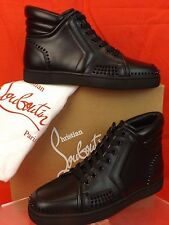 NIB LOUBOUTIN SPORTY DUDE BLACK LEATHER SPIKES HI TOP SNEAKERS 41.5 8.5 $1150