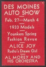 USA 1933 Cinderella - Des Moines Auto Show, 1933 Models  - dw905.17