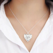 New Silver Plated Lover Locket Chain Love Heart Valentine Pendant Necklace