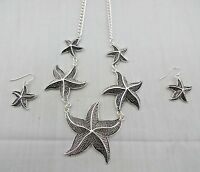 Starfish Necklace Earring Set Silver Metal Dangle Earrings Necklace 16 To 18 In