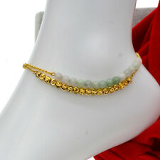 24K Yellow Gold Filled Jewelry Gift Anklet Golden Beads Jade Bell Chain Women