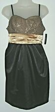 Women's NWT junior size 11 black / gold satin dress (iz byer dress)