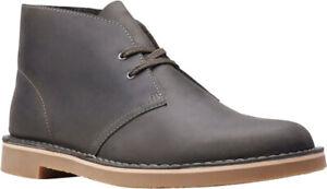 Clarks Bushacre 3 Chukka Boot (Men's) in Grey Full Grain Leather - NEW