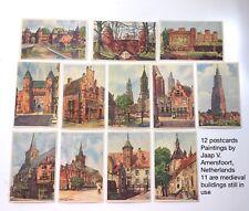 Vintage 12 postcards 1945 Amersfoort Netherlands Medieval Buildings Historic