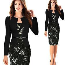 Elegant Womens Floral Slim Cocktail Business Wear To Work Formal Pencil Dress